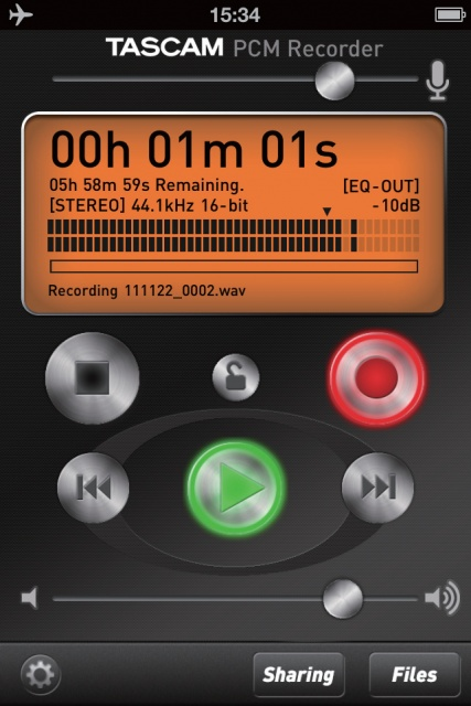 Tascam PCM Recorder Screenshot
